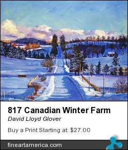 817 Canadian Winter Farm by David Lloyd Glover - Painting - Acrylic On Canvas