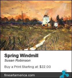 Spring Windmill by Susan Robinson - Painting - Watercolours