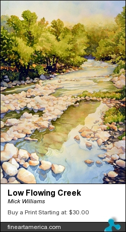 Low Flowing Creek by Mick Williams - Painting - Watercolor