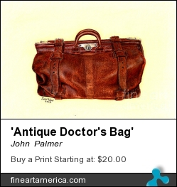 'antique Doctor's Bag' by John  Palmer - Painting - Pastel