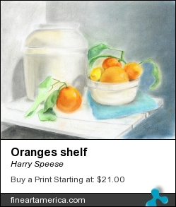 Oranges Shelf by Harry Speese - Painting - Pastel On Canson Paper