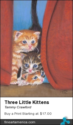 Three Little Kittens by Tammy Crawford - Painting - Pastel On Velour