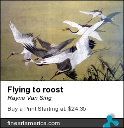 Flying To Roost by Rayne Van Sing - Painting - Watercolours And Ink On Chinese Sized Silk