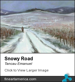 Snowy Road by Tancau Emanuel - Painting - Oil