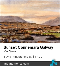 Sunset Connemara Galway by Val Byrne - Painting - Watercolour