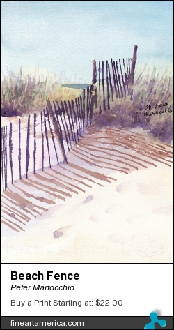 Beach Fence by Peter Martocchio - Painting - Watercolor