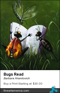 Bugs Read by Barbara Hranilovich - Painting - Gouache On Paper
