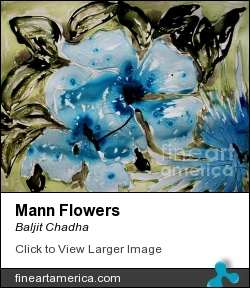 Mann Flowers by BALJIT CHADHA - Painting - Mix Media On Paper