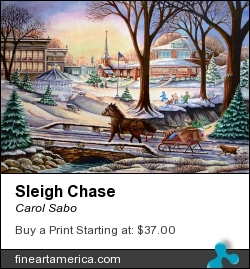 Sleigh Chase by Carol Sabo - Painting - Watercolor & Gouache
