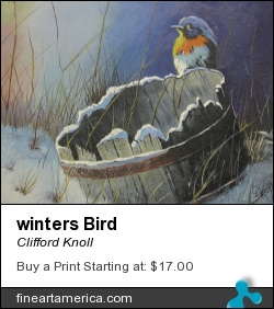 winters Bird by Clifford Knoll - Painting - Acrylic On Canvas
