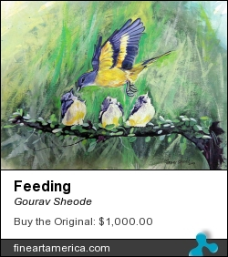 Feeding by Gourav Sheode - Painting - Watercolor