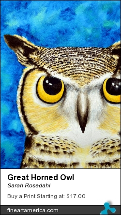 Great Horned Owl by Sarah Rosedahl - Painting - Watercolor