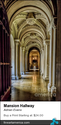 Mansion Hallway by Adrian Evans - Photograph