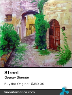 Street by Gourav Sheode - Painting - Watercolor