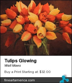 Tulips Glowing by Walt Maes - Painting - Acrylic On Canvas