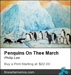 Penquins On Thee March by Philip Lee - Painting