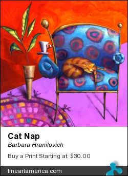 Cat Nap by Barbara Hranilovich - Painting - Gouache On Paper