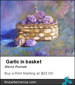 Garlic In Basket by ALENA RUMAK - Painting - Oil On Canvas