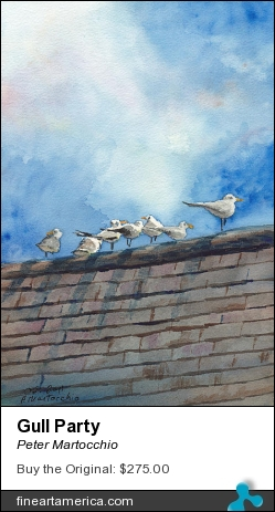 Gull Party by Peter Martocchio - Painting - Watercolor
