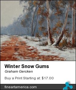 Winter Snow Gums by Graham Gercken - Painting - Oil On Canvas