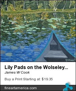 Lily Pads On The Wolseley River by James W Cook - Painting - Oil On Canvas