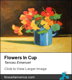 Flowers In Cup by Tancau Emanuel - Painting - Oil