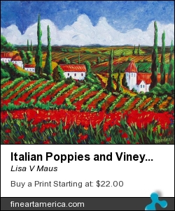 Italian Poppies And Vineyards by Lisa V Maus - Painting - Oil On Canvas