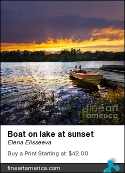 Boat On Lake At Sunset by Elena Elisseeva - Photograph - Photograph
