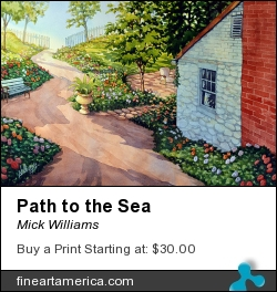 Path To The Sea by Mick Williams - Painting - Watercolor