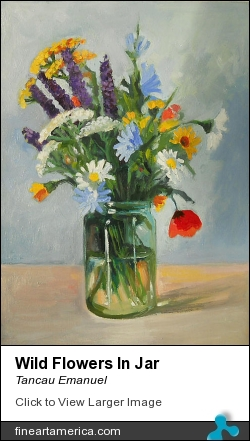 Wild Flowers In Jar by Tancau Emanuel - Painting - Oil