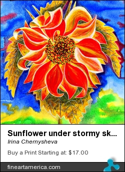 Sunflower Under Stormy Sky by Irina Chernysheva - Painting - Acrylic On Paper