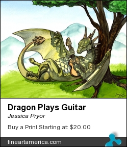 Dragon Plays Guitar by Jessica Pryor - Drawing - Pen & Water Color.