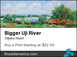 Bigger Uji River by Owen Hunt - Painting - Watercolor