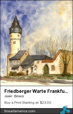 Friedberger Warte Frankfurt by Juan  Bosco - Painting - Watercolor On Paper