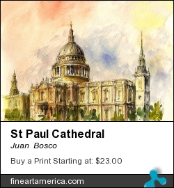 St Paul Cathedral by Juan  Bosco - Painting - Watercolor On Paper