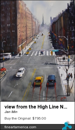 view from the High Line New York by Jan Min - Painting