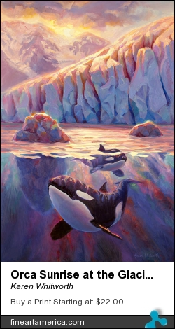 Orca Sunrise At The Glacier by Karen Whitworth - Painting - Oil