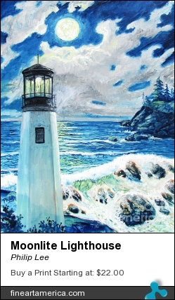 Moonlite Lighthouse by Philip Lee - Painting