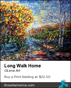 Long Walk Home by OLena Art - Painting - Palette Knife Oil Painting