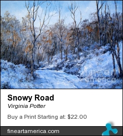 Snowy Road by Virginia Potter - Painting - Acrylic On Canvas