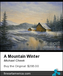A Mountain Winter by Michael Cheek - Painting - Oil On Canvas