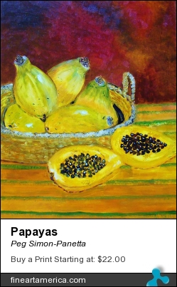 Papayas by Peg Simon-Panetta - Painting - Acrylic On Board