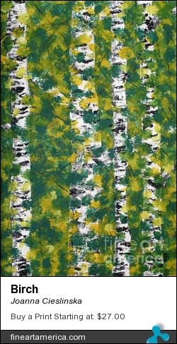 Birch by Joanna Cieslinska - Painting - Acrylic On Wood