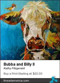 Bubba And Billy II by Kathy Fitzgerald - Painting - Mixed Media Paper And Acrylic Paint On Cradled Wood Panel