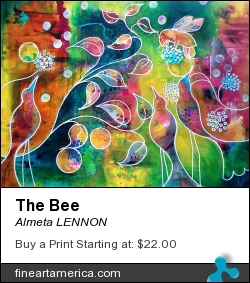 The Bee by Almeta LENNON - Painting - Acrylic On Arches Watercolour Paper