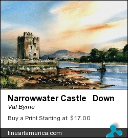 Narrowwater Castle Down by Val Byrne - Painting - Watercolour