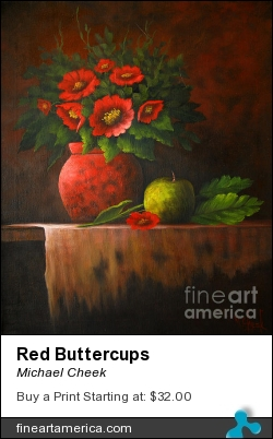 Red Buttercups by Michael Cheek - Painting - Oil On Canvas