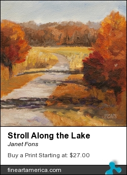 Stroll Along The Lake by Janet Fons - Painting - Oil On Canvas