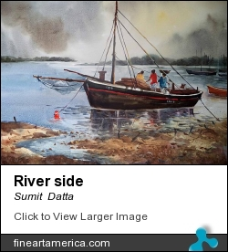River Side by Sumit  Datta - Painting - Watercolor