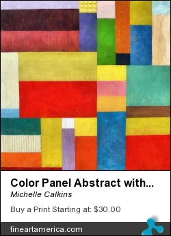 Color Panel Abstract With White Buttons by Michelle Calkins - Painting - Oil On Canvas With Digital Enhancement